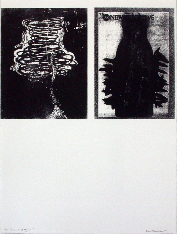 Anne Gilman Limited Edition lithograph with photo transfer and woodcut transfer