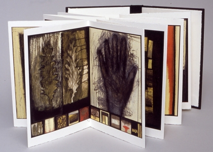 Anne Gilman Limited Edition Artist Books mixed media digital accordion book with hand coloring, printed on Arches cover stock, edition of 10