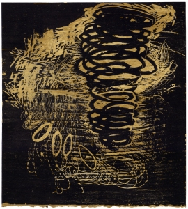 Anne Gilman When things go awry woodcut on hand-stained paper