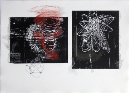 Anne Gilman When things go awry Woodcut with hand drawing, pencil, ink, scraping
