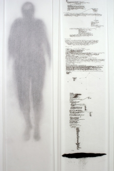 Anne Gilman Multi-panel Scrolls pencil and charcoal on medical paper