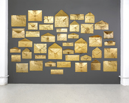 Arlene Rush Evidence Of Being Archival paper, museum board, resin, acrylic, metal leaf, polyurethane and colored wax