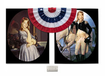 "Arlene Rush Twins C-print, metal backed paper plaque of the US Declaration of                     Independence and fabric bunting flag 43""h x 66""w x 5""d"