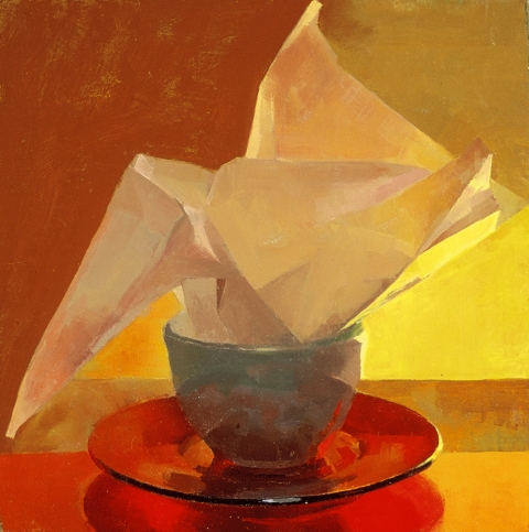STILL LIFE White cup red plate