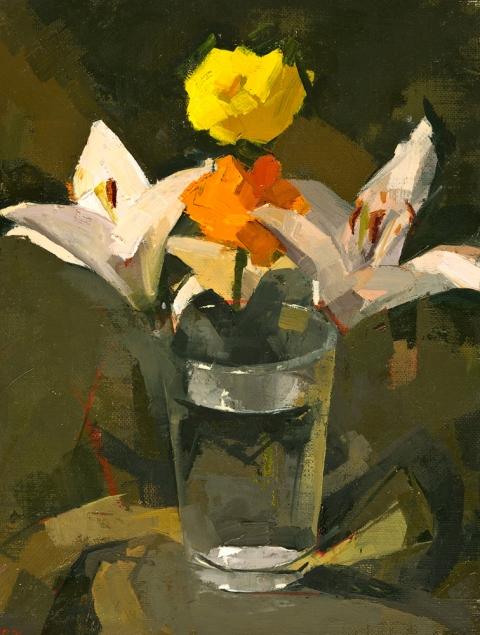 STILL LIFE Lilies, ranunculus