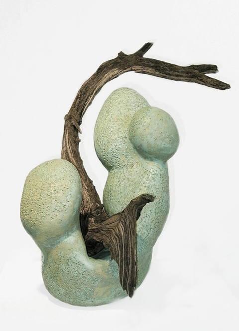 Elaine Lorenz Embodiment Ceramic, glazed, driftwood