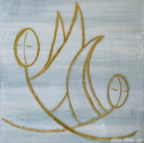 2012 Collection Venetian plaster, acrylics, gold leaf on wood.