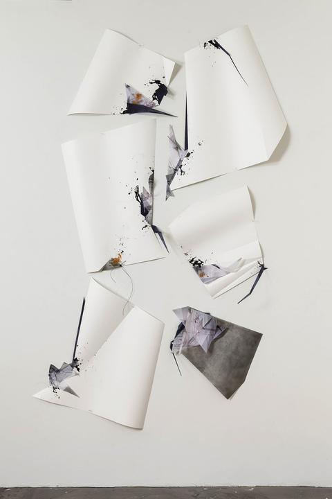 Gelah Penn ON PAPER Lenticular plastic, digital print, graphite, monofilament, acrylic paint, metal staples, vinyl-covered Dacron line on Yupo
