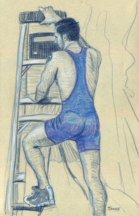 "- ""Erotic Life Drawings"" - <i>Warning: Adult Content, please be 18 to view</i> ""Eric - Ladder, Singlet"" Drawing"
