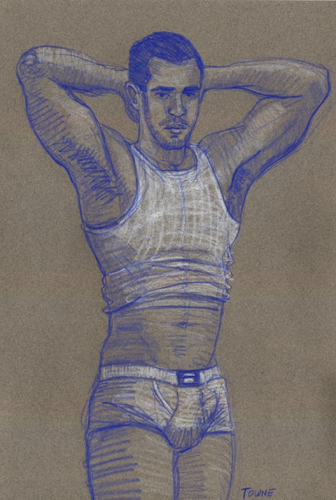 "- ""Erotic Life Drawings"" - <i>Warning: Adult Content, please be 18 to view</i> ""Eric - Arms Up, Tanktop"" Drawing"