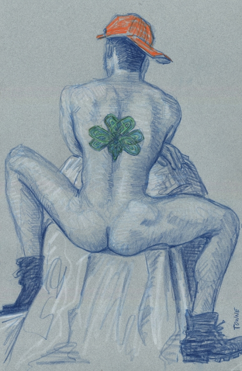 "- ""Erotic Life Drawings"" - <i>Warning: Adult Content, please be 18 to view</i> ""Patrick - Clover Back Tattoo"" Drawing"