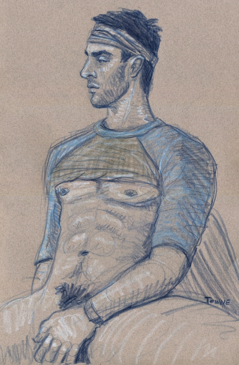"- ""Erotic Life Drawings"" - <i>Warning: Adult Content, please be 18 to view</i> ""Patrick - Seated Profile"" Drawing"