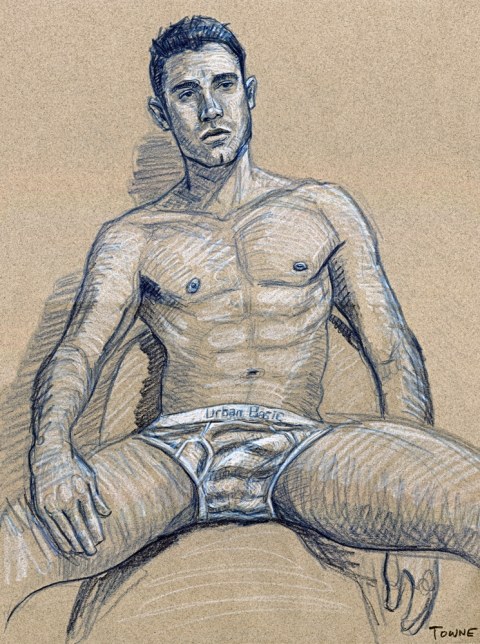 "- ""Erotic Life Drawings"" - <i>Warning: Adult Content, please be 18 to view</i> ""Man In Underwear (Felipe)"" Drawing"