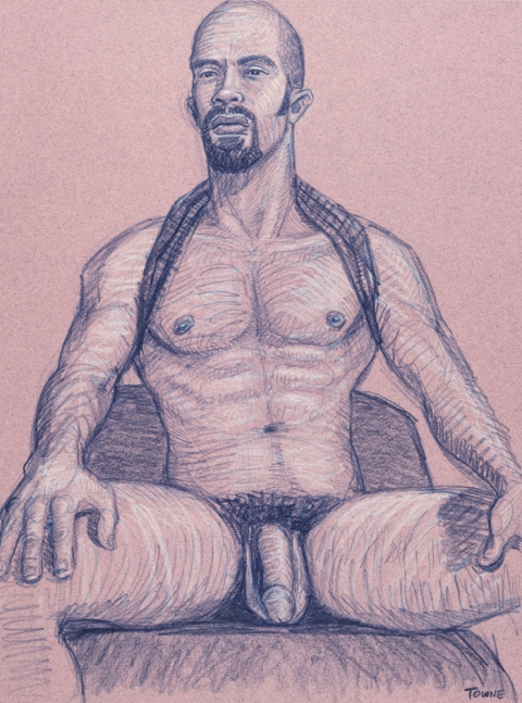 "- ""Erotic Life Drawings"" - <i>Warning: Adult Content, please be 18 to view</i> ""Mike - Seated Tanktop"" Drawing"