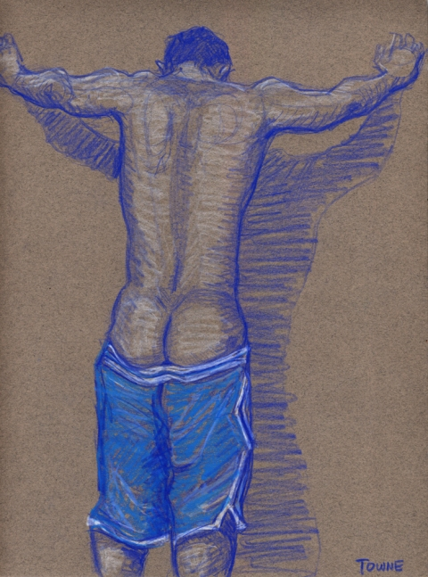 "- ""Erotic Life Drawings"" - <i>Warning: Adult Content, please be 18 to view</i> ""Klaus - Backside, Blue Gym Shorts"" Drawing"