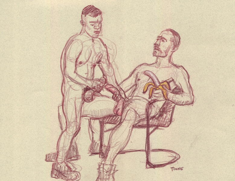 "- ""Erotic Life Drawings"" - <i>Warning: Adult Content, please be 18 to view</i> ""Reed and Mark - with Banana"" Drawing"