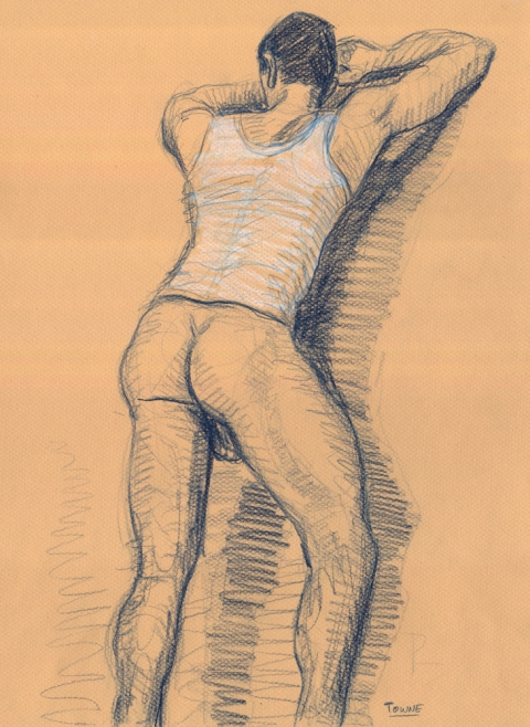 "- ""Erotic Life Drawings"" - <i>Warning: Adult Content, please be 18 to view</i> ""Doug - Standing, Backside"" Drawing"
