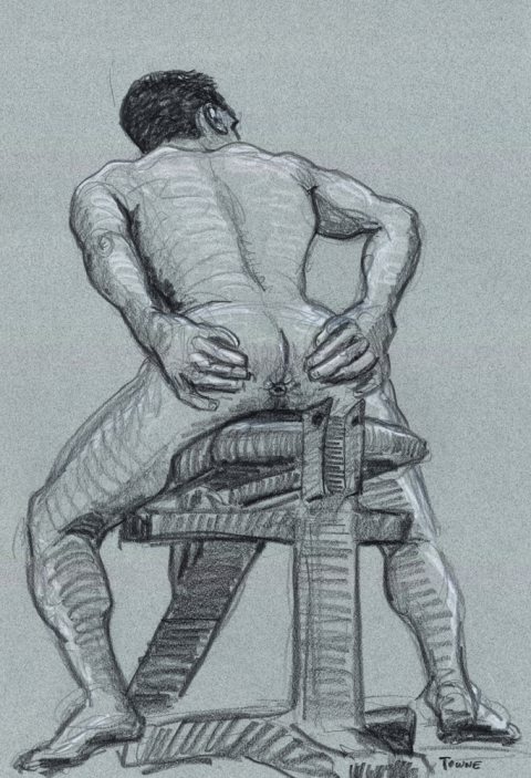 "- ""Erotic Life Drawings"" - <i>Warning: Adult Content, please be 18 to view</i> ""Conrad - Weightbench/Butthole"" Drawing"