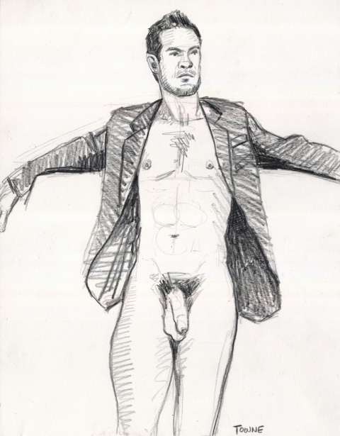 "- ""Erotic Life Drawings"" - <i>Warning: Adult Content, please be 18 to view</i> ""Klaus, Suit Jacket, Uncut"" Drawing"