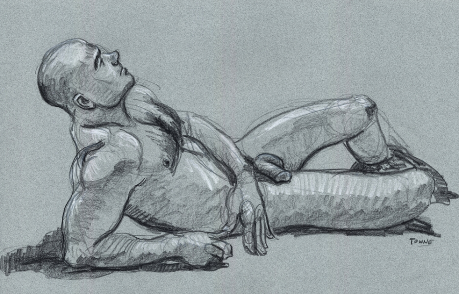 "- ""Erotic Life Drawings"" - <i>Warning: Adult Content, please be 18 to view</i> ""Joe Z. - Reclining at The Black Party Poster Event"""