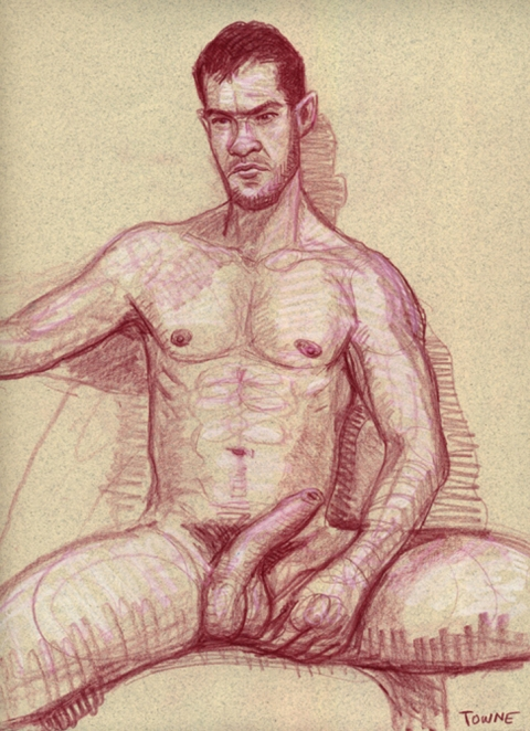 "- ""Erotic Life Drawings"" - <i>Warning: Adult Content, please be 18 to view</i> ""Klaus Seated, Nude - Hardon"" Drawing"