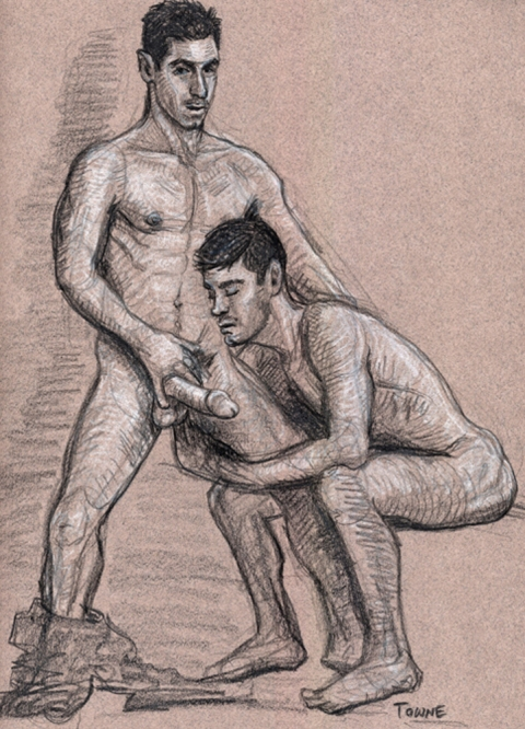"- ""Erotic Life Drawings"" - <i>Warning: Adult Content, please be 18 to view</i> ""Rafo and Mike W."" Drawing"