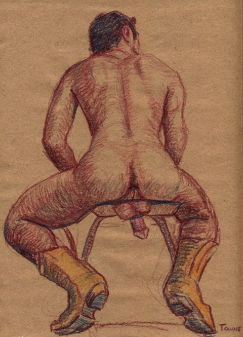 "- ""Erotic Life Drawings"" - <i>Warning: Adult Content, please be 18 to view</i> ""Roberto - Yellow Cowboy Boots"" Drawing"