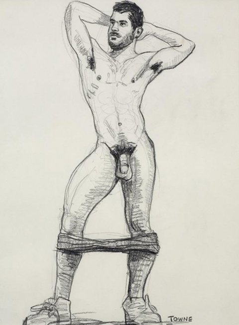 "- ""Erotic Life Drawings"" - <i>Warning: Adult Content, please be 18 to view</i> ""Sam (Devries) Standing Nude, Arms Up"" Drawing"