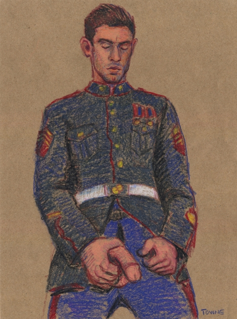 "- ""Erotic Life Drawings"" - <i>Warning: Adult Content, please be 18 to view</i> ""Eric (Victor Steele) Marine Outfit, Standing"""