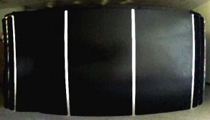 HJ BOTT INSTALLATION work, in situ, all periods Matt black enamel and Reflective tape on plybrd, prefab doors, hardware, black felt interior, plexi windowss