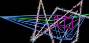 HJ BOTT INSTALLATION work, in situ, all periods yarn, balsa strips, wire, fiber optic bent horizon, EL luminescent cables, florescent vinyls and ultra-violet light