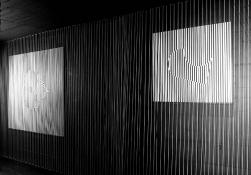 HJ BOTT INSTALLATION work, in situ, all periods yarn, matt black tape, matt acrylic enamels, plyboard panels, hardware