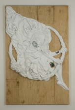 """Jeph Gurecka solo exhibition, """"Shiny Bright Souvenir"""", 2008 31Grand Gallery, New York, NY.  cast salt, resin, automotive enamel, boat wax, mounted on faux distressed wood panel."""