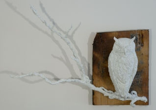 """Jeph Gurecka solo exhibition, """"Shiny Bright Souvenir"""", 2008 31Grand Gallery, New York, NY. cast salt, resin, mounted on faux distressed wood panel"""