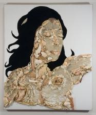 "Jeph Gurecka solo exhibition, ""Shiny Bright Souvenir"", 2008 31Grand Gallery, New York, NY. shellfish shells, pearls, flocking,resin,wood"