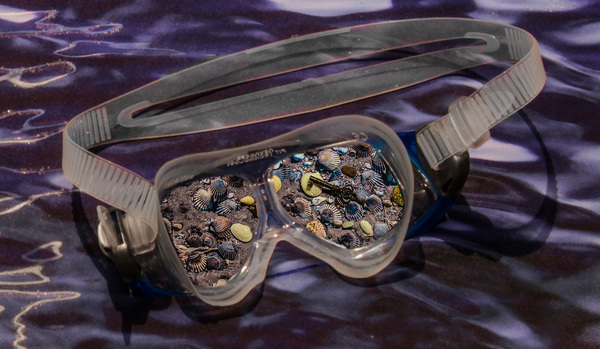 JoAnne Dumas Free Forms archival images, diamond dust, LED lighting, goggles, shells, metal key