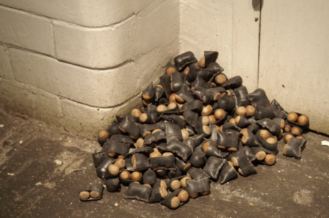  sculpture. bicycle innertubes, thread, acorns