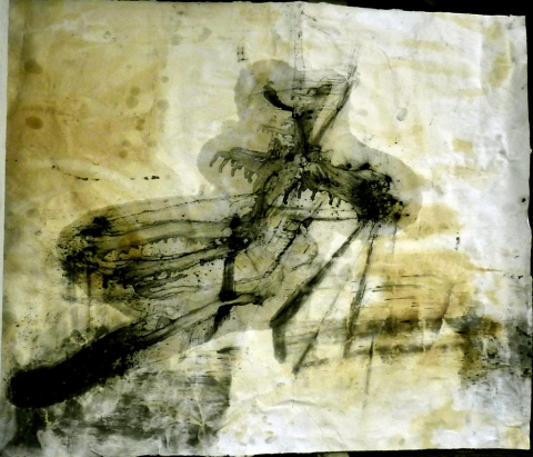 drawing. oil, charcoal, coffee, rust, ink on paper