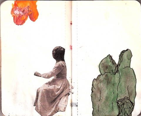books. ink, watercolor, and collage on paper
