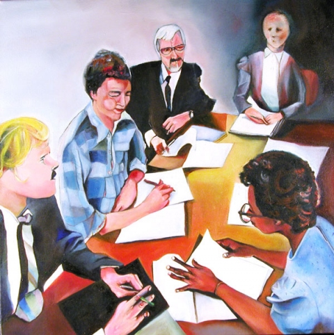 Office Paintings Staff Meeting