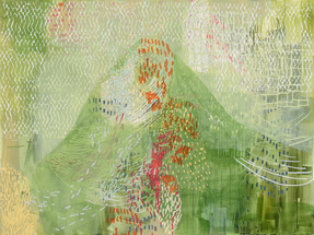 Laura Fayer  acrylic and rice paper on canvas