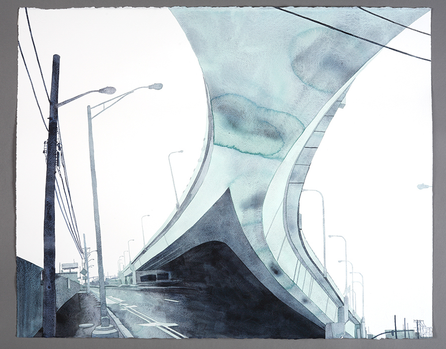  Monumental Watercolors DETAIL: Panoramic Drawing 2 (New Highway)