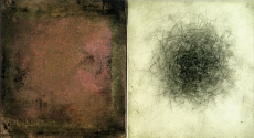 """Luisa Sartori go to """"Lines & Weather"""" images Oil, copper leaf, graphite on wood"""