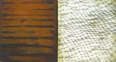 """Luisa Sartori go to """"Lines & Weather"""" images oil, copper leaf, iron dust, graphite on wood"""
