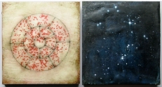 """Luisa Sartori go to """"Here-There / High-Low"""" images miwed media on wood"""