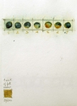 "Luisa Sartori go to ""Seeds & Stars"" images Ink, Graphite, gold leaf on paper"