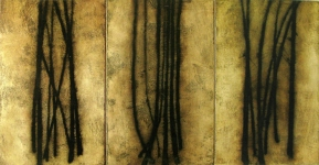"Luisa Sartori go to ""Lines"" images Gesso, oil, on paper on wood"