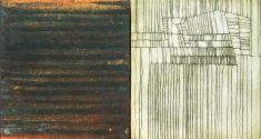 "Luisa Sartori go to ""Lines & Weather"" images Oil, copper leaf, iron dust, graphite on wood"
