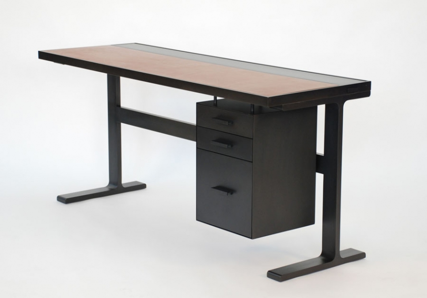 Desk Desk with Cabinet - Black Steel - Saddle Leather Inset Top