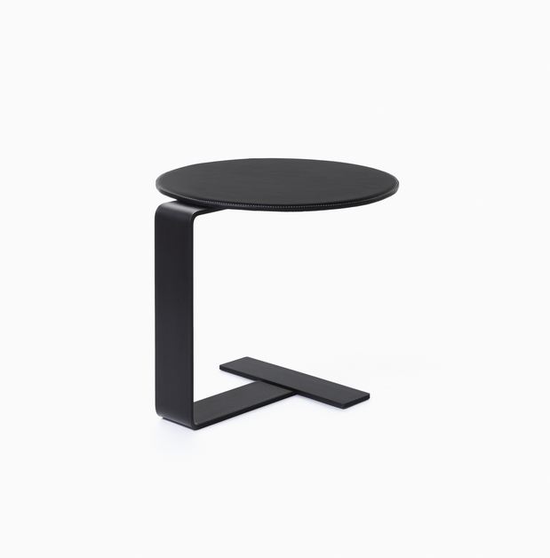 Occasional Table Solist Side Table - Black Leather Top